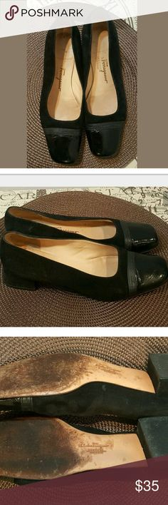 Salvatore Ferragamo  Leather Patent Suede Flats 8.5 Wide  Shoes are pre-owned but in great condition!?  Thank you for Shopping!?  Be sure to add me to your favorites list!?  Check out my other items! Ferragamo Shoes Flats & Loafers