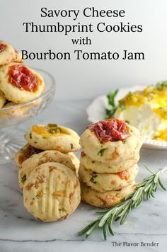 Savory Cheese Thumbprint Cookies with Bourbon Tomato Jam - These buttery, herby cookies with delicious cheddar cheese, and an amazing tomato jam come together easily and are perfect as an appetizer, party food, or snack! Cold Appetizers, Appetizers For Party, Appetizer Recipes, Light Appetizers, Appetizer Ideas, Dessert Recipes, Desserts, Tomato Jam, Muffins