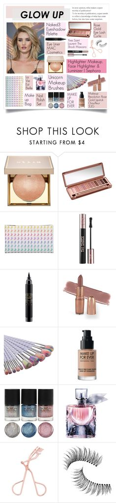 """Glow Up- Rosie Huntington Whiteley"" by aprilcastia on Polyvore featuring Belleza, Whiteley, Stila, Urban Decay, Yves Saint Laurent, MAC Cosmetics, MAKE UP FOR EVER, Lancôme, Trish McEvoy y rosegold"