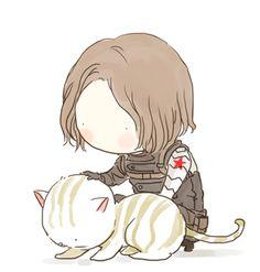 chibi Bucky pets cat animated fanart by xxxxxx6x