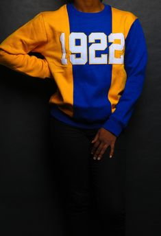 Color Blocking sweater , Stitched numbers across the front.Sizing is true to sizeTurn around time is 2 weeks.Everything is made to order. Sigma Gamma Rho, Zeta Phi Beta, Sorority Life, Sorority Outfits, Divine Nine, Greek Gifts, Long Overcoat, Royal Blue And Gold, Fraternity