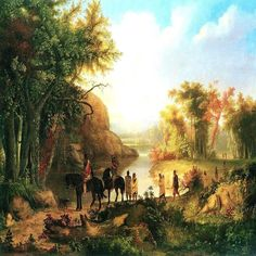 Indians In Sunset River Landscape