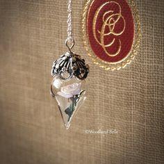 Elegant Ivory White Rose Flower Terrarium Glass Vial Necklace