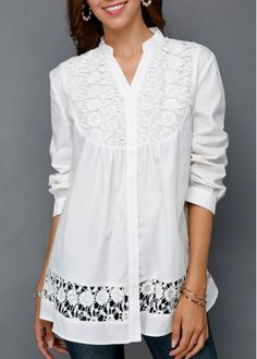 Crochet Detail Button Front Split Neck White Blouse | modlily.com - USD $29.25 Trendy Tops For Women, Blouses For Women, Red Blouses, Shirt Blouses, Bluse Outfit, Casual Skirt Outfits, Blouse Styles, Short Sleeve Blouse, Long Sleeve
