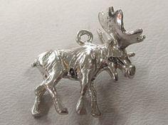 Sterling Silver Antiqued Alaska Moose Cha