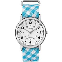 Timex Women's Weekender Gingham Watch (1670 TWD) ❤ liked on Polyvore featuring jewelry, watches, blue, plaid jewelry, buckle jewelry, dial watches, buckle watches and blue dial watches