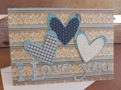 Anniversary Card I love you card Blue by PrettyLittleCrafties
