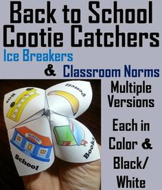 These Back to School Cootie Catchers are a great way for students to break the ice with each other and establish classroom expectations, all while having fun.There are 7 Back to School cootie catchers with the following content:1.