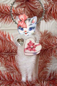 Retro Kitty Vintage Style Chenille Valentine Feather Tree Ornament