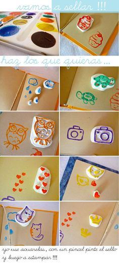 Cupcake and cat stamps Diy Stamps, Homemade Stamps, Love Stamps, Custom Stamps, Fun Crafts, Diy And Crafts, Paper Crafts, Make Your Own Stamp, Eraser Stamp