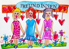 Freundinnen - Poster - A4 von Maren Schmidt auf DaWanda.com