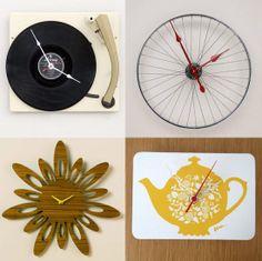 Record/Vintage Bicycle Wheel/Colorful Tea Tray Clock