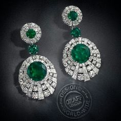 Diamond and Emerald  drop earrings by Graff