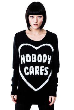 Killstar Nobody Cares Knit Sweater [B]