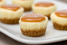 Prepare these Bite-Size Salted Caramel Cheesecakes for some teeny, tiny and tasty treats. Find out more about these delicious cheesecake bites today! Mini Dessert Recipes, Mini Desserts, Just Desserts, Delicious Desserts, Bite Sized Desserts, Bite Size Appetizers, French Desserts, Easter Recipes, Plated Desserts