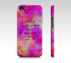 Pure in Heart  iPhone 4 4S 5 5S 5C Hard Case Ombre by EbiEmporium, $40.00 Abstract Art Typography  Inspirational Jesus Christ Bible Verse Christian Quote Religious iPhone Case, Cell Phone Cover, Whimsical Uplifting Fine Art Pretty in Pink