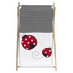 Sweet JoJo Designs Polka Dot Ladybug Laundry Hamper- Red, Black, White