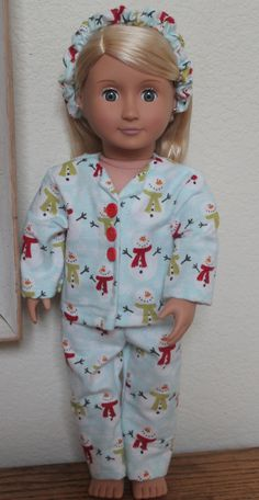 01e252477c 18 inch Doll Clothes Christmas Winter Snowman Pajamas fits most 18 inch  Dolls and 18 inch