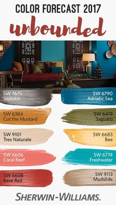 Earthy mustards, ocean blues, corals and mud: these are the colors behind the unbounded palette, one of four from our 2017 Color Forecast. This versatile collection of colors redefines boundaries to bring together global influences in a diverse palette. Paint Colours 2017, Interior Paint Colors, Paint Colors For Home, House Colors, Ocean Blue Paint Colors, Orange Paint Colors, Office Paint Colors, Room Interior, Front Door Colors