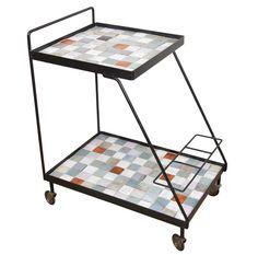 Two-tier ceramic tile cart, signed M.V. Vinckeroy, Holland/Belgium, c. 1950. Robert Altman LLC