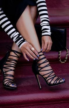 Stripes and Stilettos heels, sexy sandals Stilettos, Schnür Heels, Pumps, Sexy Heels, Stiletto Heels, Strappy Heels, Black Heels, Black Sandals, Gladiator Sandals