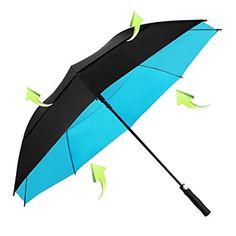 Koler Golf Umbrella Windproof 62 Inch Oversized Double Vented Canopy Auto Open Waterproof & Sunproof Extra large Stick Umbrellas - Black/Blue