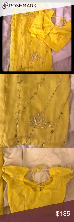 Gorgeous yellow sari with sequins Look stunning in this gorgeous yellow sari with sparkling sequins. Perfect for summer events!  Never worn! Other