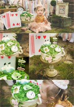 Alice in ONEderland smash cake session.  The details on this cake are amazing!  Love this theme!!