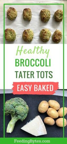 Easy baked broccoli tater tots for babies and toddlers. These nutritious broccol. Easy baked broccoli tater tots for babies and toddlers. These nutritious broccoli bites make healthy snacks f Nutritious Snacks, Healthy Snacks, Healthy Recipes, Clean Eating Snacks, Healthy Eating, Baby Led Weaning Breakfast, Fingerfood Baby, Healthy Finger Foods, Baby Finger Foods