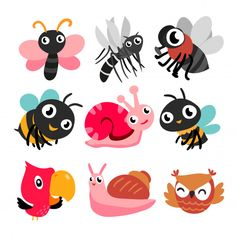 Bugs and bird collection Premium Vector Homemade Stickers, Pebble Painting, Love Bugs, Character Development, Doodle Art, Adobe Illustrator, Vector Free, Pikachu, Doodles