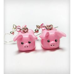 Pink Pig Dangle Earrings ($12) ❤ liked on Polyvore featuring jewelry, earrings, cat earrings, long earrings, dangle earrings, pink jewelry and pink earrings
