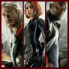 Here is 3 Brand NEW !!! Charecter Movie Posters from Avengers: Age of Ultron featuring Thor, Black Widow, & Nick Fury.