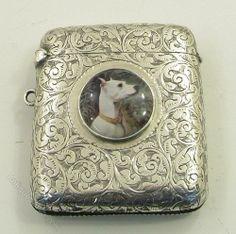 Victorian silver Vesta case with enamel dog. 1899