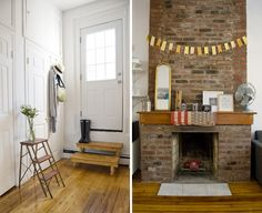 Darling Dexter's Brooklyn Apt on Design Sponge. Love how she used a step ladder as a shelf. Looks like something out of Fudge magazine. The fireplace is also ace.