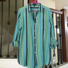 Ralph Lauren Cotton Button Down Shirt. Green, blue, yellow and gray striped cotton button down shirt.  Tag says M but could also probably fit a L. Ralph Lauren Tops Button Down Shirts