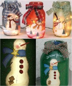 Painted Jolly Snowmen - 12 Magnificent Mason Jar Christmas Decorations You Can Make Yourself