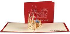 Aufklappbare POP UP Grußkarte des Kölner Doms in rot. Mehr entdecken auf: www.lin-popupkarten.de