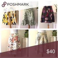 WANT IT OUT WEDNESDAY! 🌸skirt bundle🌸 This is a bundle for 5 skirts. They are between size 2-4 and fit sizes 2 through 6, really! (I teeter between a 4 and 6 and they all fit me) from top left clockwise:  Karen Kane size 4, Ann Taylor size 4, Merona size 2, and bottom 2 skirts are apostrophe brand, size 2. The individual listings for these skirts are in my closet if you want to know more details on each. I have them listed from between $12-18 individually but get all 5 in this bundle for…