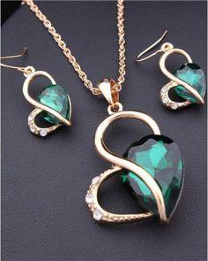 18K Gold Rhinestone Austria Crystal Heart Water Drop Necklace Dangle Earrings Jewelry Sets