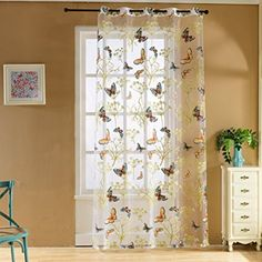 Top finel yellow flower window treatments sheer curtain panels 54 norbi fresh floral print tulle voile door window rom curtain drape panel sheer scarf valances mightylinksfo