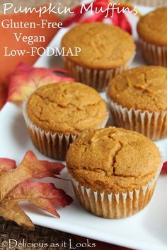 Low-FODMAP Pumpkin Muffins (Vegan & Gluten-Free)     Delicious as it Looks Used brown sugar & added a coconut flour, gf oats, smart balance, brown sugar & cinnamon crumb topping.