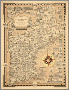 Pictorial Map of the New England States U.S.A.; Chase, Ernest Dudley; 1939; Separate Map