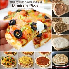 This homemade Mexican Pizza recipe is better than the famous fast food joint's! Get your daily dose of dairy with melty cheese and a dollop of sour cream! #DairyMonth #ad