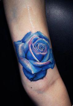 Blue Rose tattoo...Artist: Kostas Baronis Proki - Proki Tattoo studio - Athens / Greece
