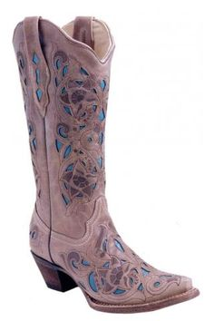 Women's Corral Boots Sand Turquoise Distressed Goat Laser Western Clothing