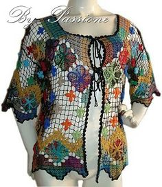 This Pin was discovered by Iza Crochet Scarf Diagram, Crochet Blouse, Afghan Crochet Patterns, Filet Crochet, Irish Crochet, Crochet Stitches, Crochet Top, Crochet Hats, Fancy Kurti