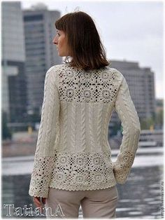 Sweatshirts and sweaters handmade. Knitted card - Crochet Clothing and Accessories Gilet Crochet, Crochet Jacket, Crochet Cardigan, Knit Crochet, Knitting Patterns, Crochet Patterns, Crochet Woman, Crochet Designs, Crochet Clothes