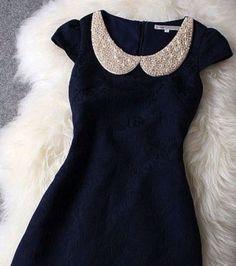 Dark blue dress, pearly Peter Pan collar