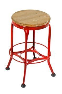 Original American Four Legged Red Enameled Stationary Toledo Stool With Maple Wood Seat Footrest Metal Furniture Co