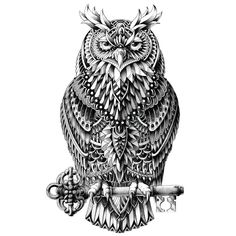 This Ornate Great Horned Owl by BioWorkZ depicts a wise looking large owl in black and white, perched on a key. Is the owl holding the key to some mystery? We're not sure but we are sure you'll love this black and white bird wall sticker. This great horned owl decal is highly-detailed and will easily peel and stick to any surface you want to turn into an owl habitat. Try it on walls, mirrors, doors, windows – easy installation guaranteed! Ornate Great Horned Owl is available in 3 sizes…